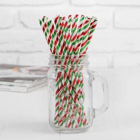 Трубочки для коктейля «Спираль», набор 25 шт., цвет красно-зелёный
