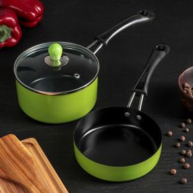 """Набор посуды """"Дуэт"""", 2 предмета: ковш с крышкой 14×7 см, сковорода 14 см, индукция"""