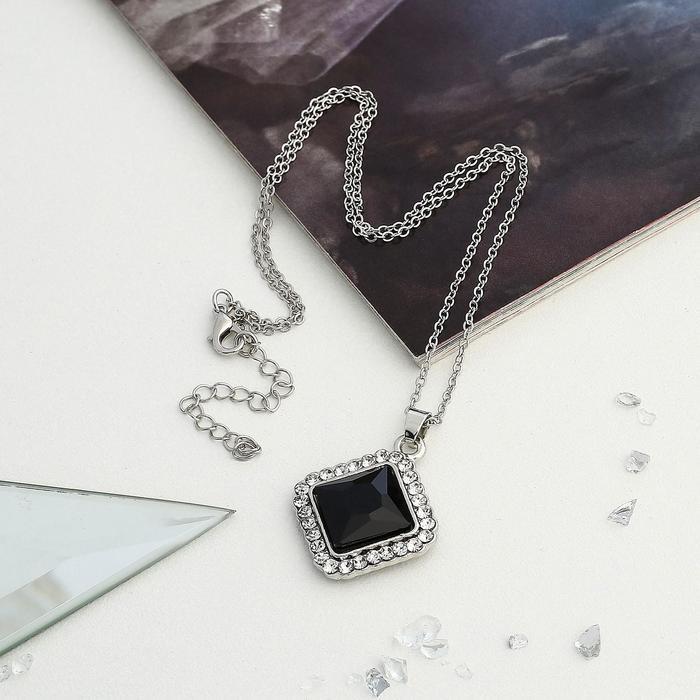 Кулон Colour black, ромб, чёрный в серебре, 45см