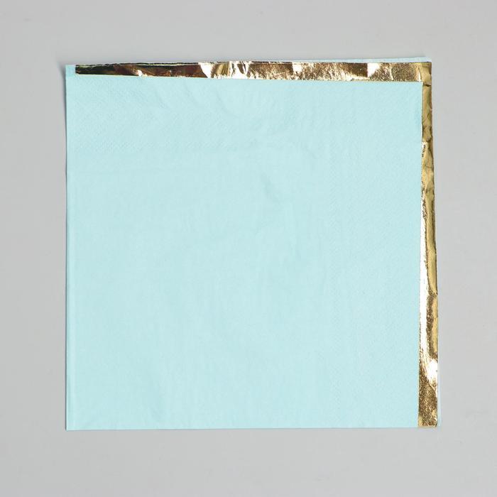 Салфетки бумажные 33х33 см, набор 16 шт, цвет голубой, тиснение