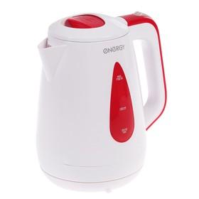 Чайник электрический ENERGY E-214, пластик, 1.7 л, 1850 - 2200 Вт, бело-бордовый