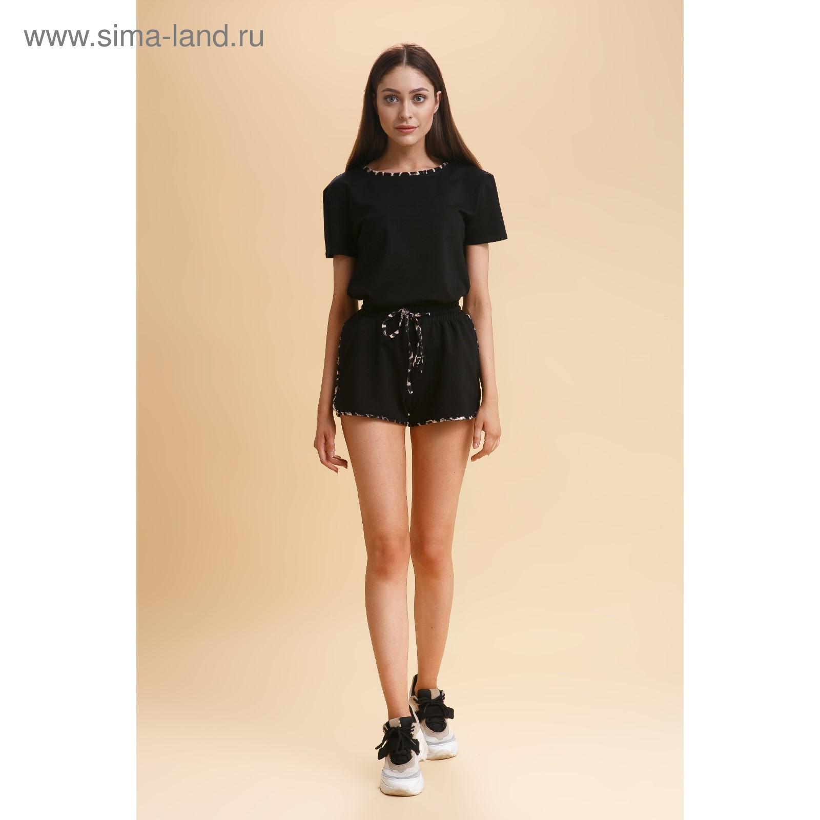 fb7cdcedc93c Костюм женский (футболка, шорты), цвет черный/леопард окантовка, р-р ...