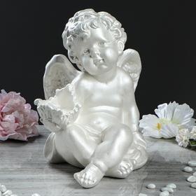 """Статуэтка """"Ангел с чашей"""" перламутр, 29 см"""