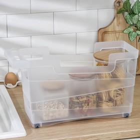 Контейнер хозяйственный с ручкой на колёсиках 12,5 л, 45×16×25,5 см, прозрачный