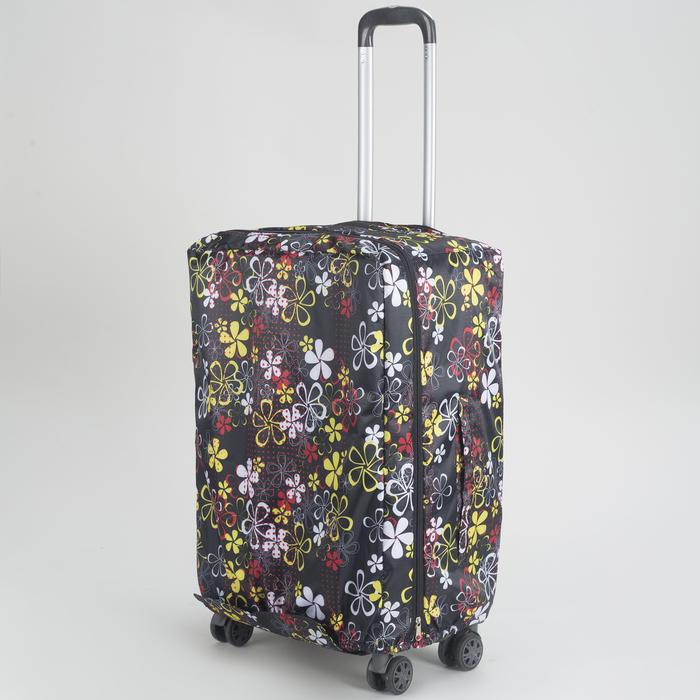 """Чехол для чемодана 24"""", расширение по периметру, цвет чёрный"""