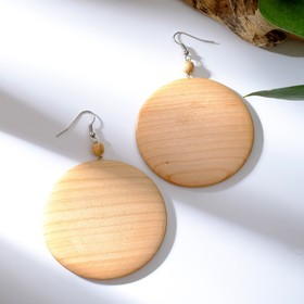 """Earrings handmade, wooden """"Coin-large"""", color light brown"""