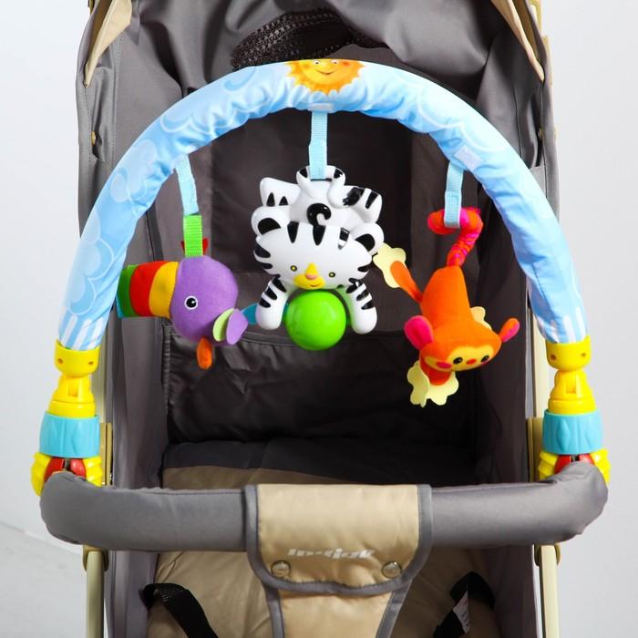Дуга игровая мягкая на коляску/кроватку «Африка», с музыкальной игрушкой