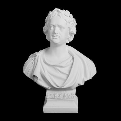 Гипсовая фигура. Известные люди: бюст Петра I, 14.5 x 10 x 19.5 см
