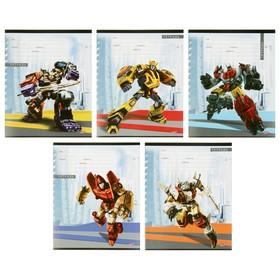 Тетрадь 12 листов в клетку «Боевые роботы», обложка мелованная бумага, МИКС