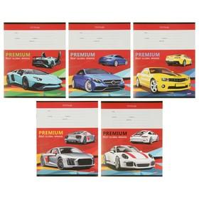 Тетрадь 12 листов клетка «Гоночные машины на красном», обложка мелованная бумага, МИКС Ош
