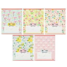 Тетрадь 12 листов клетка «Фламинго», обложка мелованная бумага, МИКС