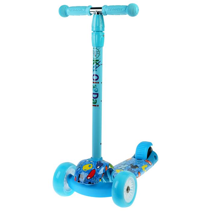 Самокат стальной, колеса световые PU d=9/4 см, ABEC 7, до 60 кг, цвет синий