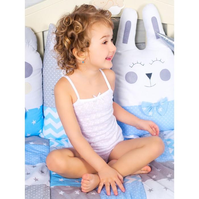 Комплект маек для девочки на бретельках, с ажурной резинкой, цвет белый, рост 104 см