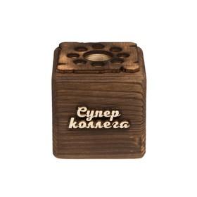 """ЭкоКуб органайзер """"Супер коллега!"""" обожженный"""