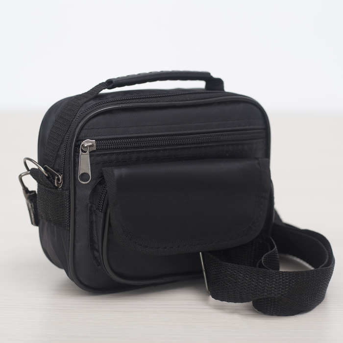 Сумка мужская, отдел на молнии, 2 наружных кармана, регулируемый ремень, цвет чёрный