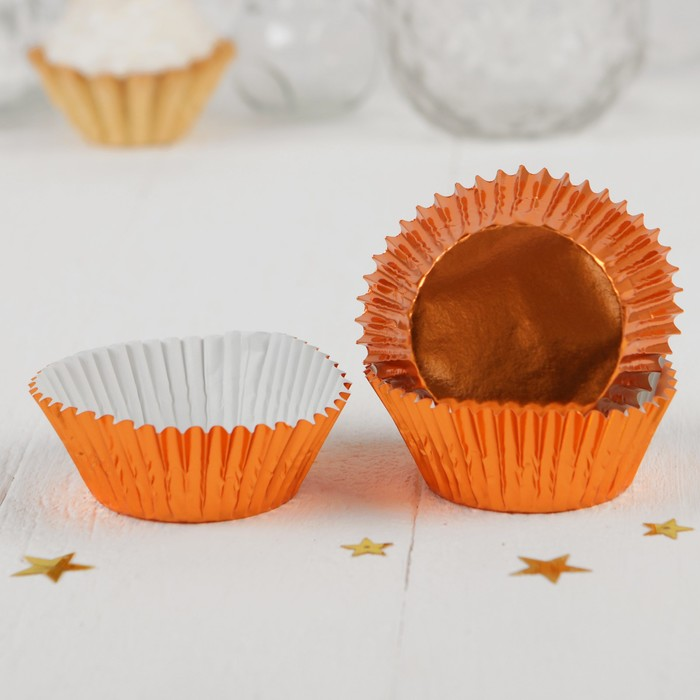 Украшение для кексов, набор 24 шт, цвет оранжевый