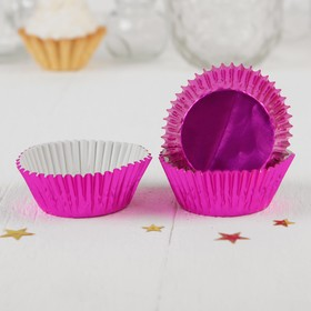 Украшение для кексов, набор 24 шт., цвет малиновый