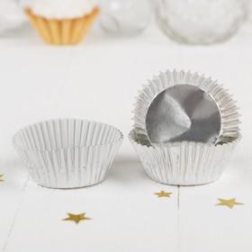 Украшение для кексов, набор 24 шт., цвет серебряный