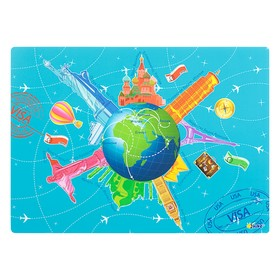 Накладка на стол, пластиковая, А3, 460 х 330 мм, «Оникс», КН-3, 500 мкм, обучающая, «Вокруг света»