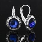 Серьги с синим камнем в серебре, 1,3 х 2 см