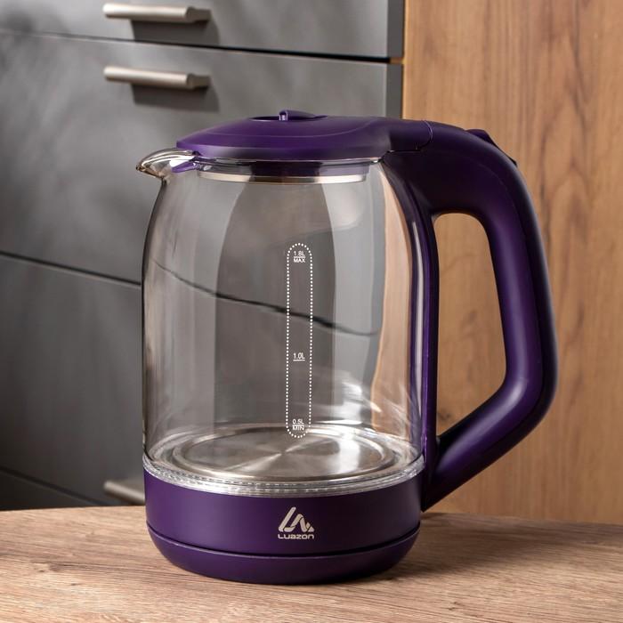 Чайник электрический LuazON LSK-1809, стекло, 1.8 л, 1500 Вт, подсветка, фиолетовый