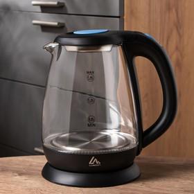 Чайник электрический LuazON LSK-1810, стекло, 1.8 л, 1500 Вт, подсветка, черный