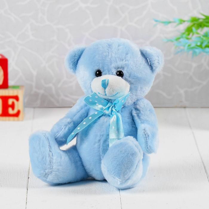 Мягкая игрушка «Медведь с бантом в горошек», цвет голубой