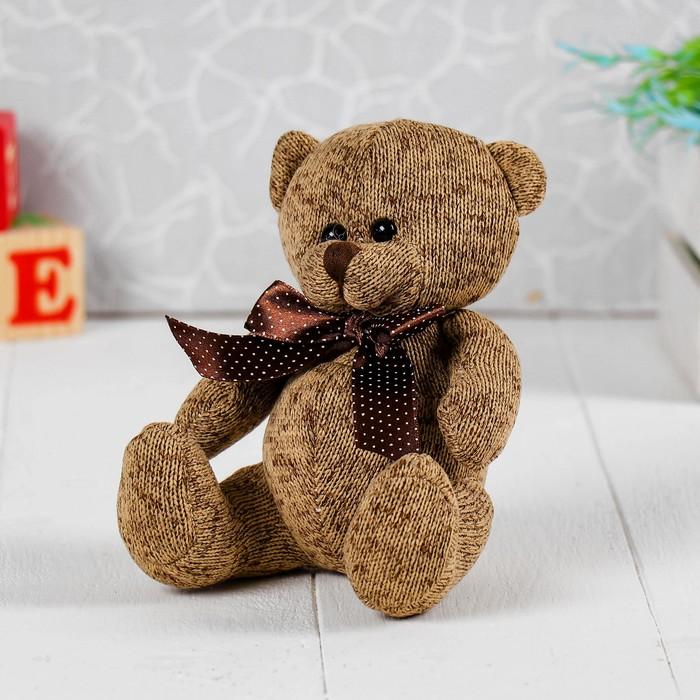 Мягкая игрушка «Мишка с бантом», цвет коричневый