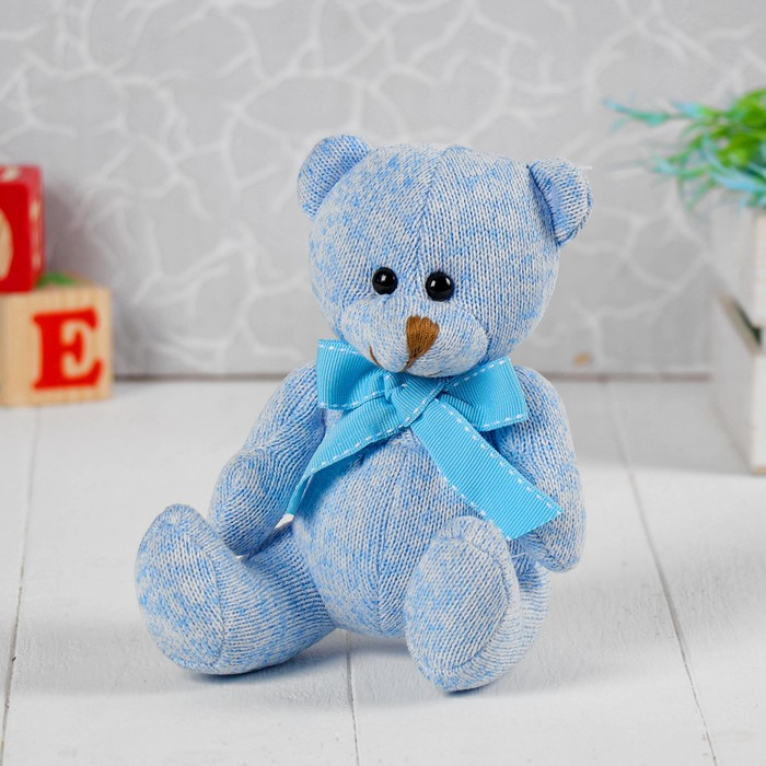 Мягкая игрушка «Мишка с бантом», цвет голубой