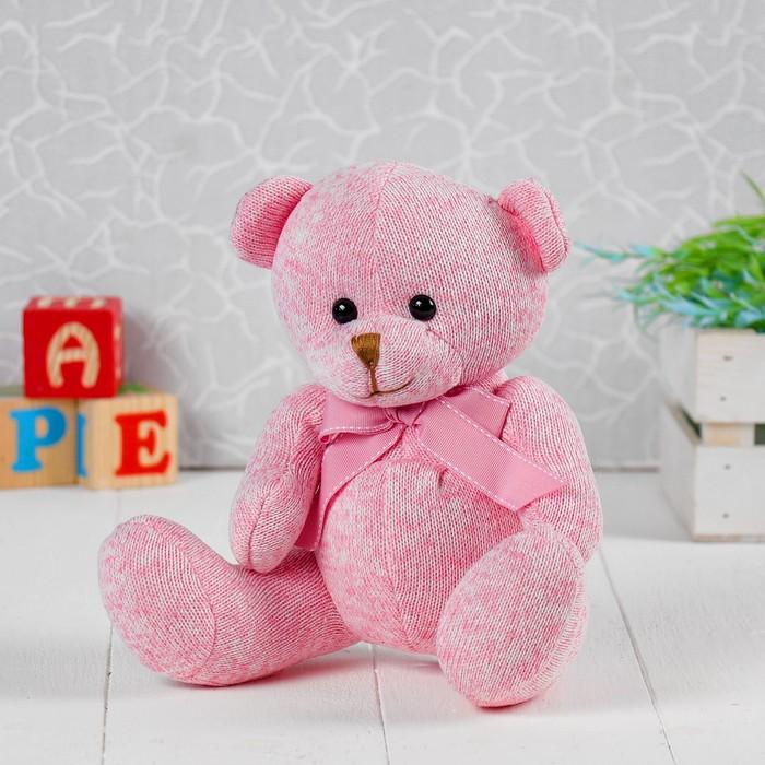 Мягкая игрушка «Мишка с бантом», 20 см, цвет розовый