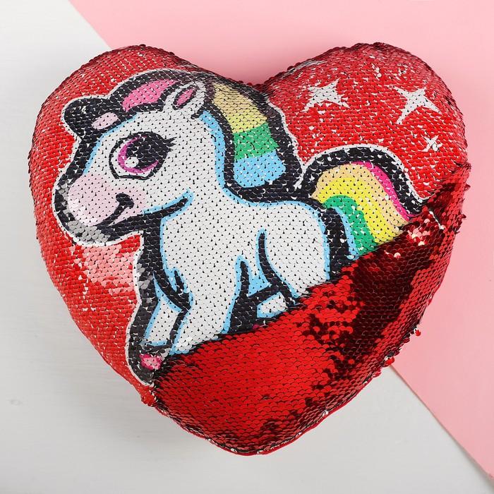 Подушка сердце «Единорог», двусторонние пайетки, цвет красный