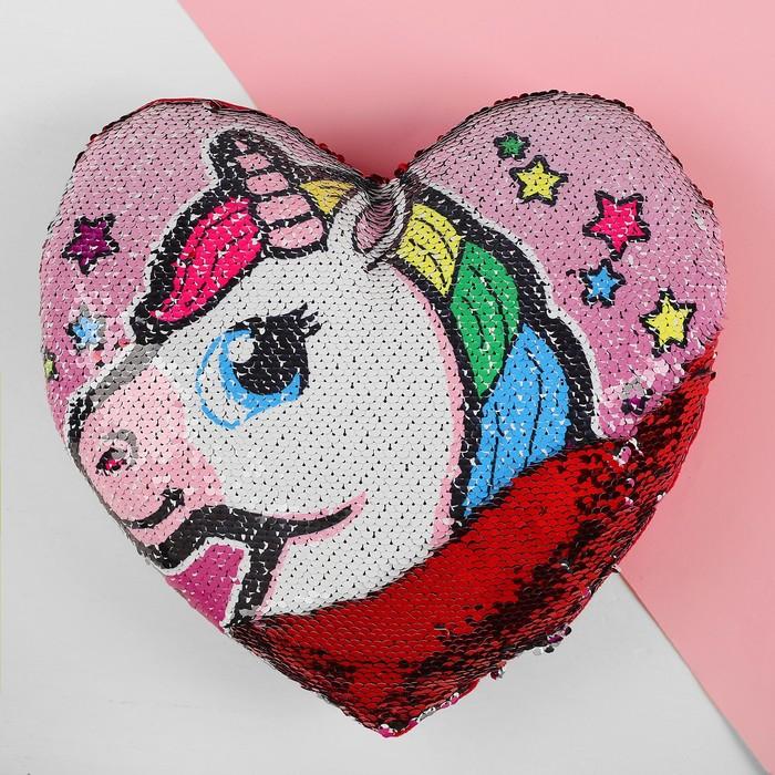 Подушка сердце «Единорог», двусторонние пайетки, цвет розово-красный