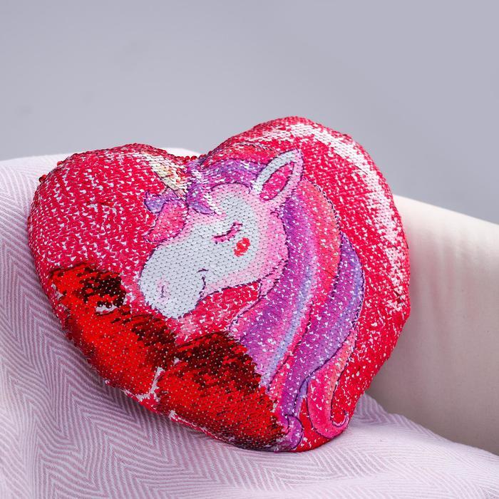 Подушка «Единорог», двусторонние пайетки, цвет красно-розовый