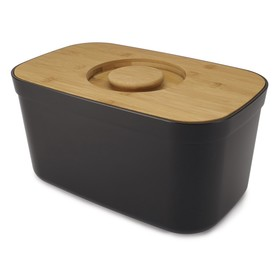 Хлебница пластиковая с разделочной доской из бамбука, чёрная