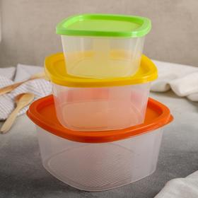 Набор контейнеров квадратных BioFresh, 3 шт: 0,5 л, 0,9 л, 1,55 л, цвет МИКС