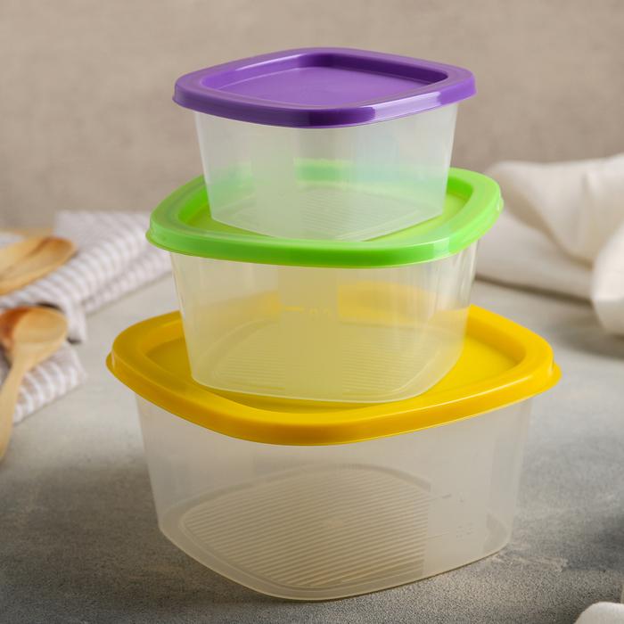Набор контейнеров квадратных BioFresh, 3 шт: 0,23 л; 0,5 л; 0,9 л, цвет МИКС