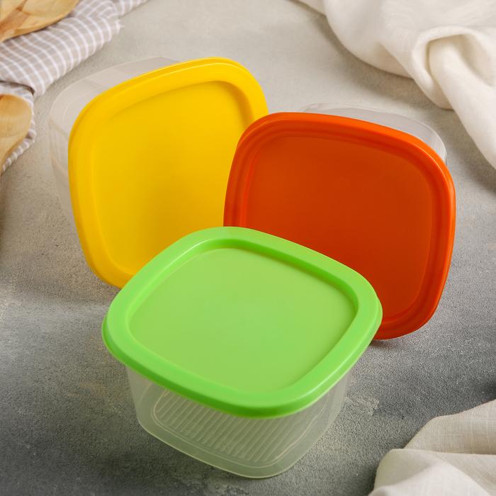 Набор контейнеров квадратных 0,5 л BioFresh, 3 шт, цвет МИКС