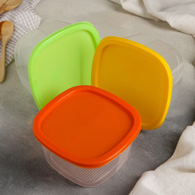 Набор контейнеров квадратных 0,9 л BioFresh, 3 шт, цвет МИКС