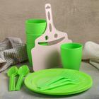 Набор для посуды, 18 предметов: контейнер 5 л, стакан 250 мл 4 шт, ложка 4 шт, вилка 4 шт, веер - фото 303161246