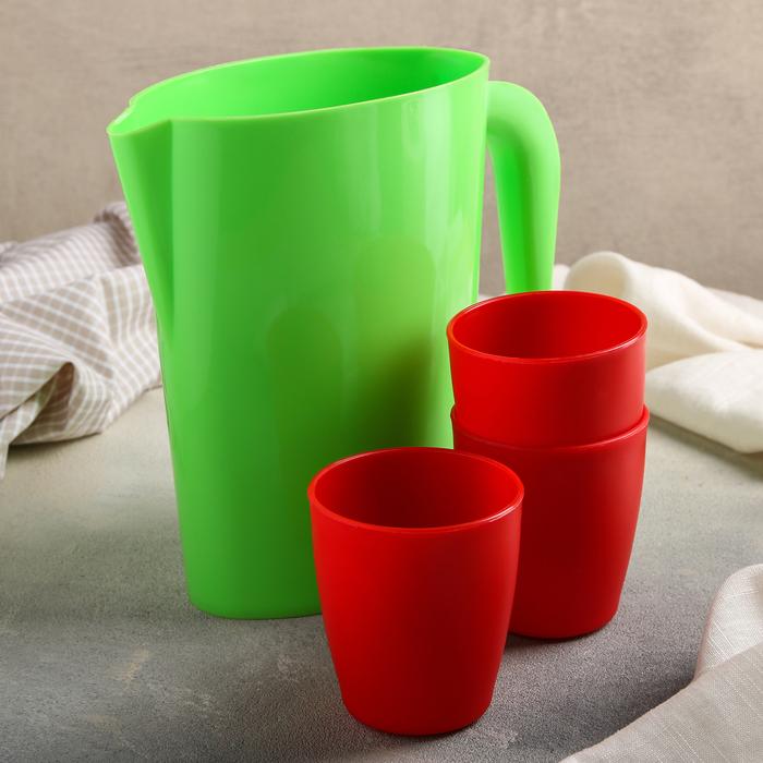 Набор питьевой, 4 предмета: кувшин 1,75 л, 3 стакана 250 мл, цвет МИКС