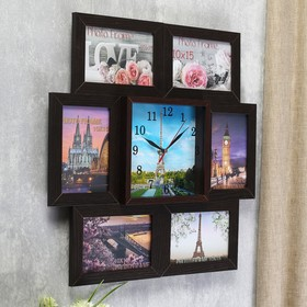 "Часы-фоторамка ""Эйфелева башня"" на 6 фото 10х15 см - фото 7262784"