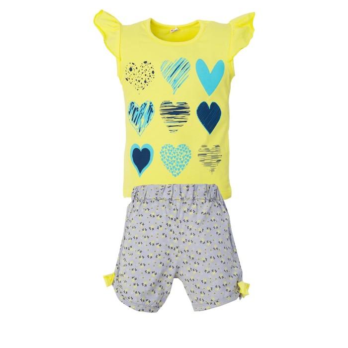 """Комплект для девочки """"Hearts"""", цвет желтый, рост 104-110"""