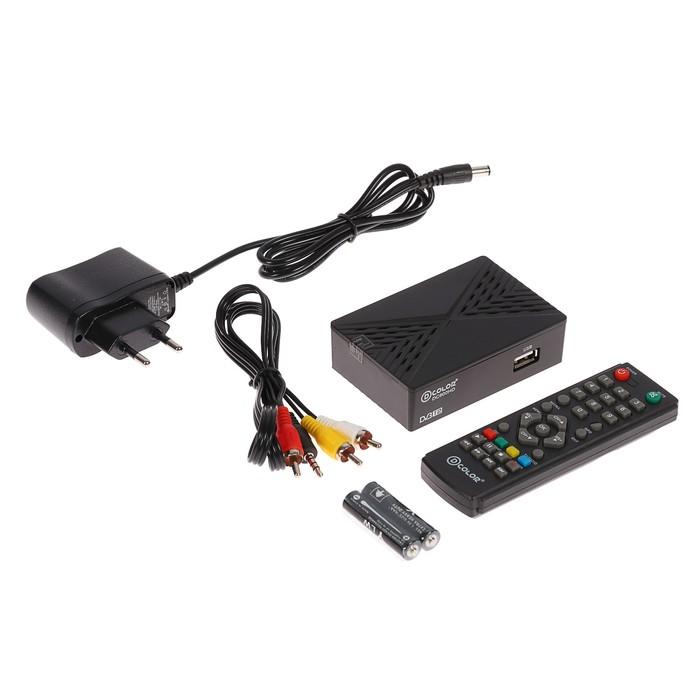 Приставка для цифрового ТВ D-COLOR DC600HD, FullHD, DVB-T2, HDMI, RCA, USB, черная