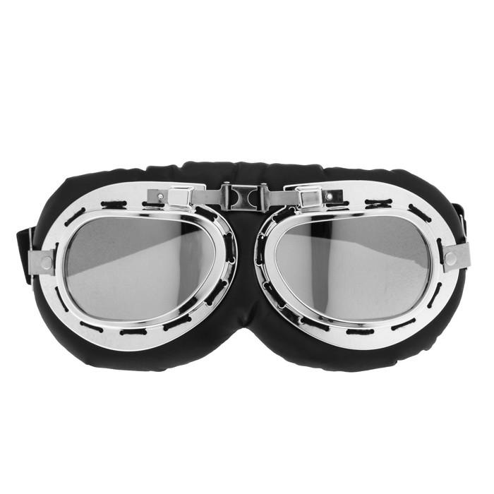 Очки для езды на мототехнике ретро, стекло хром, черные