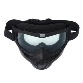 Glasses-mask for riding motorcycles Torso, collapsible, transparent glass, black