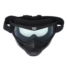 Очки-маска для езды на мототехнике Torso, разборные, стекло прозрачное, черные