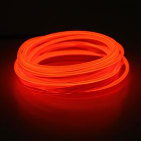 Neon thread for interior lighting design, flat, 12 V, 5 m, with power adapter, red
