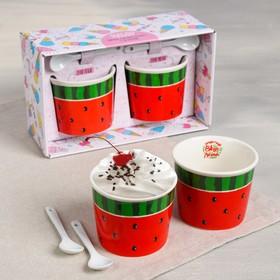 Набор «Арбуз»: пиала для мороженого 150 мл × 2 шт., ложка 2 шт.