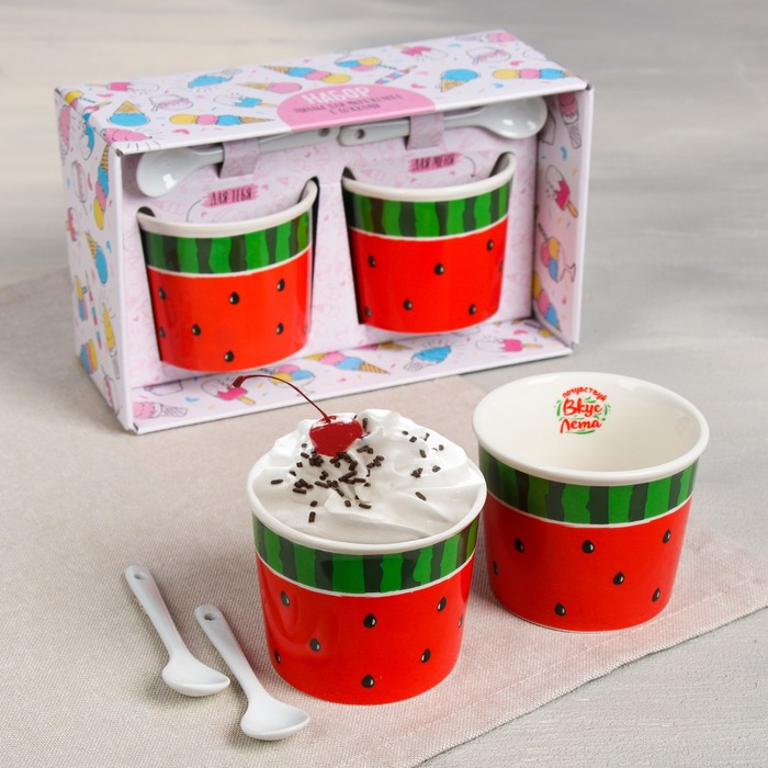 Набор «Арбуз»: пиала для мороженого 150 мл × 2 шт., ложка 2 шт. - фото 105488728