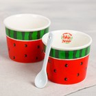 Набор «Арбуз»: пиала для мороженого 150 мл × 2 шт., ложка 2 шт. - фото 105488729